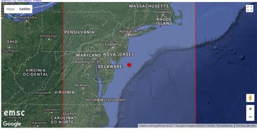 tremor na costa de Mary Land